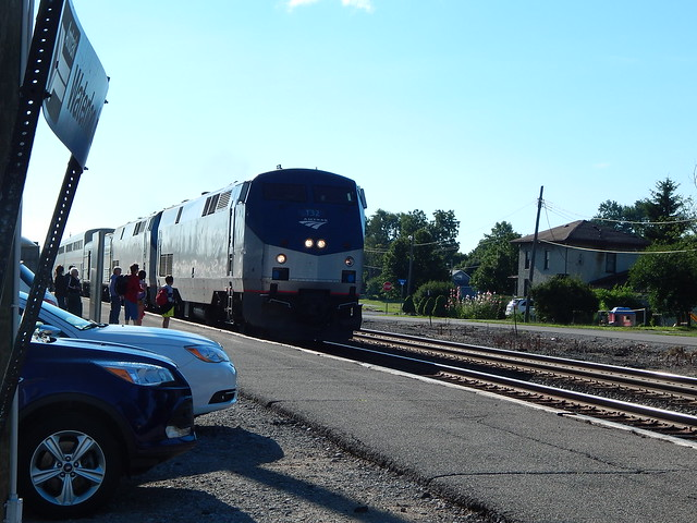 Amtrak pulling into the station at Waterloo Indiana