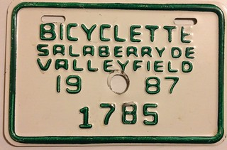 SALABERRY DE VALLEYFIELD, QUEBEC 1987 ---BICYCLE PLATE
