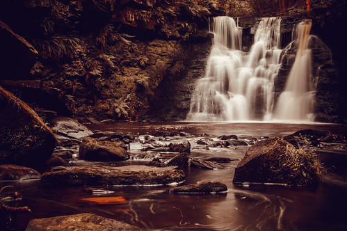 motion tree water rock waterfall long exposure beck yorkshire blurred scenary harden goitstock scepia
