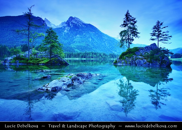 Germany - Bavaria - Berchtesgaden National Park - Hintersee lake at Dusk - Twilight - Blue Hour