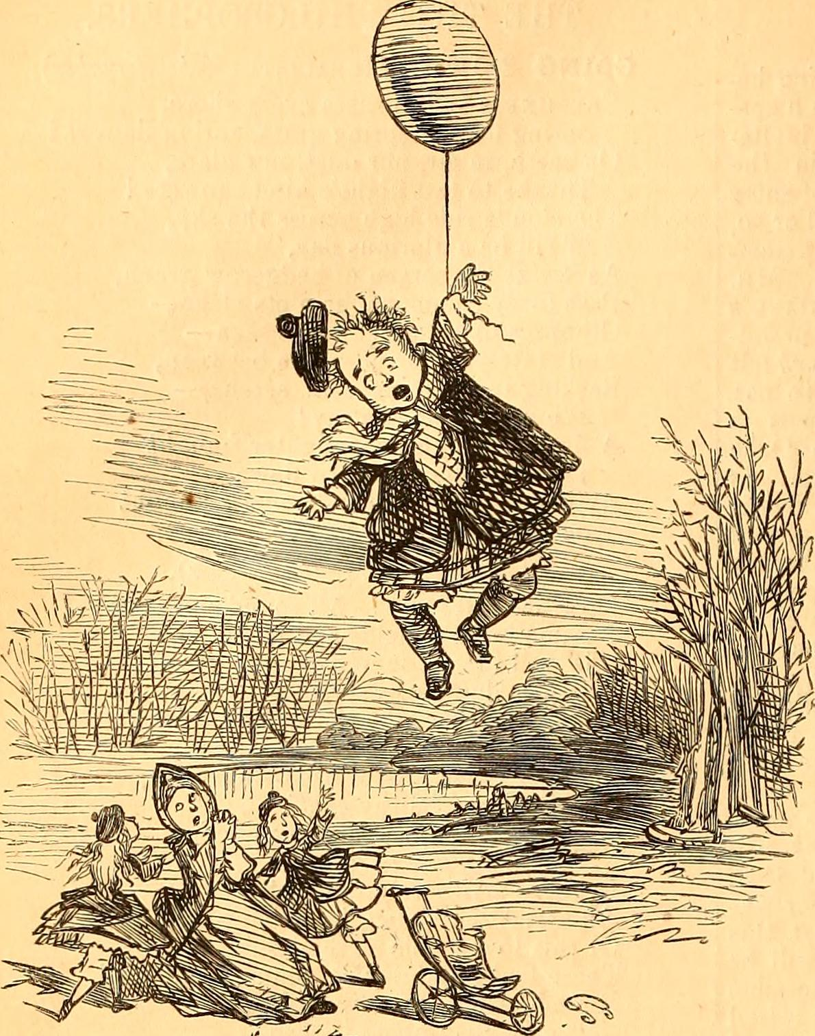 The many risks of balloonery. [From Punch in the Internet Archive Book Images](https://www.flickr.com/photos/internetarchivebookimages/14774404705/)