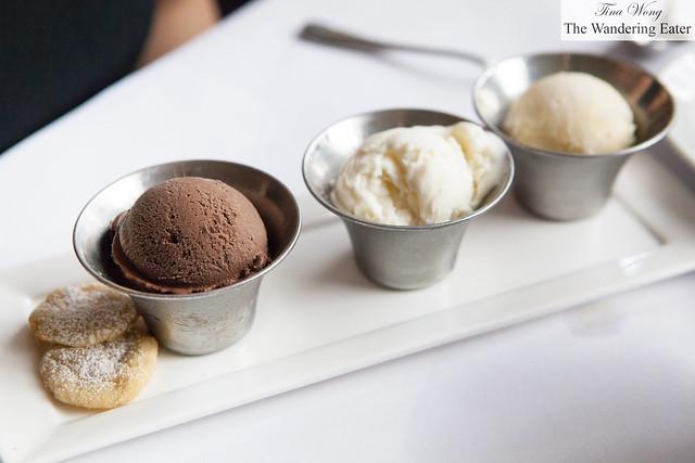 Chocolate ice cream, vanilla ice cream, lime sorbet and cookies
