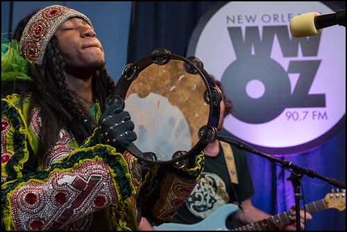 Spy Boy J'Wan Boudreaux of Golden Eagles performs with Cha Wa at the WWOZ Studio on day 1 of the Spring Pledge Drive. Photo by Ryan Hodgson-Rigsbee www.rhrphoto.com