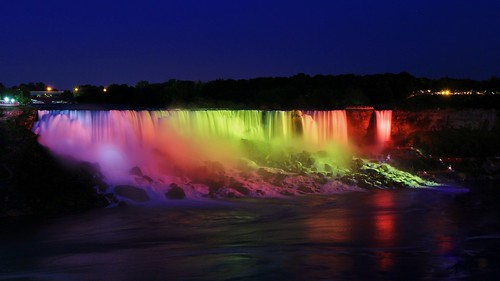 blue light fall water colors up night waterfall rainbow long exposure colours veil view dusk side canadian niagra falls american waterfalls hour lit bridal viewing nite