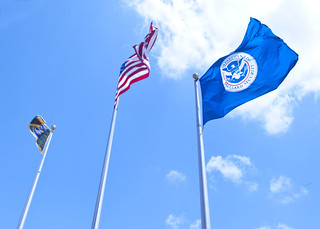 The American flag, DHS flag, and Border Patrol flag flying high in McAllen, Texas. | by DHSgov