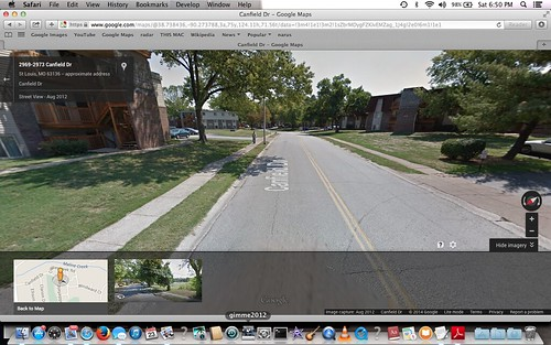 Canfield, facing SE.  note bend in sidewalk, and hedge