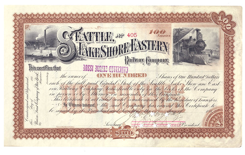 Seattle, Lake Shore and Eastern Railway Company share certificate, 1880s | by crackdog
