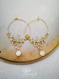 Lace earrings, brass, snow quartz. | by Strangell