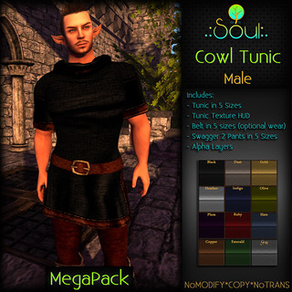 2014 Cowl Tunic - Male - MegaPack | by .:Charlie:. of .:Soul:.