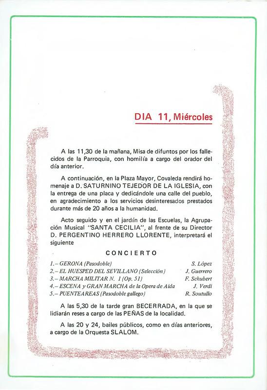 Programa de Fistas de San Lorenzo Año 1982
