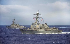 File photo of USS Sterett (DDG 104) and USS Dewey (DDG 105). (U.S. Navy/MC2 Declan Barnes)