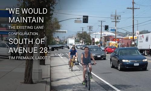 Rendering of LADOT proposed N. Figueroa bike lane looking north towards Avenue 26 from Avenue 22 | by ubrayj02