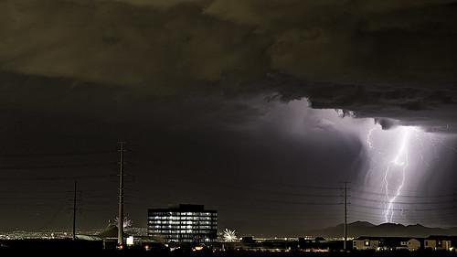 usa night america landscape lights cityscape desert cloudy lasvegas fireworks nevada places lightning 4thofjuly 2014