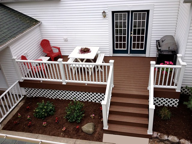 trex deck with picnic table and grill