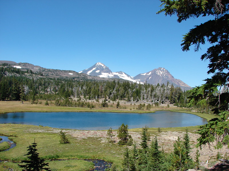 Middle and North Sister beyond Golden Lake