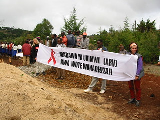 World AIDS day banner in Tanzania