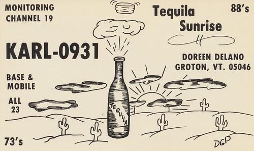 sunrise vintage vermont desert tequila alcohol qsl cb groton cbradio qslcard