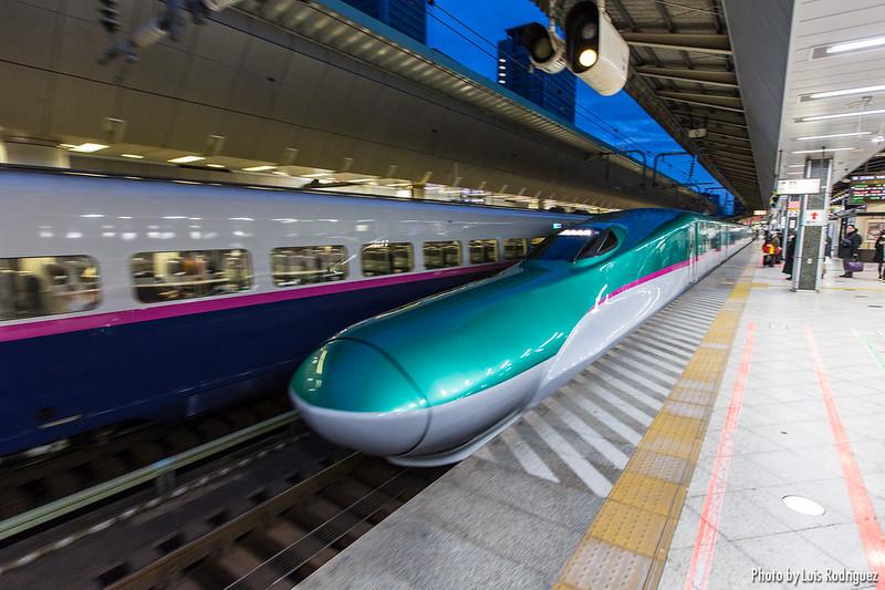 Serie E5 de shinkansen junto a un E2