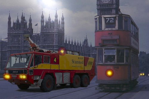 A Selection Of Manipulated Images : An Old London Scene With A Tram And A Modern Airport Fire Tender - 3 Of 5