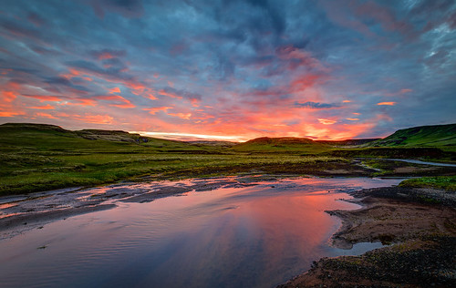 sunset red sun reflection night canon iceland south midnight