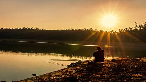 sunset sky sun india lake water fishing sony ngc tamilnadu ooty mirrorless sonynex3n