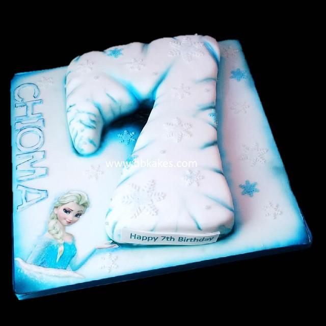 Sensational Number 7 Frozen Theme Cake By Bbkakes Cake Birthdaycake Flickr Funny Birthday Cards Online Inifodamsfinfo