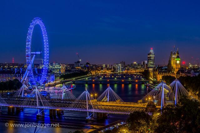 London at Night - Parliament & London Eye (HDR)