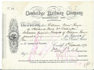 Cowbridge Railway Share certificate no 19 of the first issue 1879 | by ian.dinmore