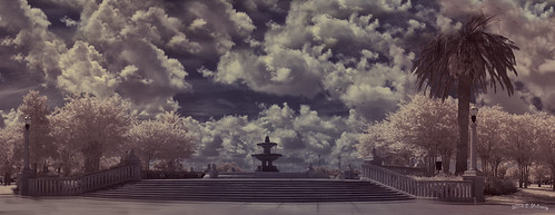 clouds landscape ir orlando florida cloudy scenic bluesky palmtrees infrared canonrebel waterfountain historicsite cityoforlando shedraway chargedsky bluejackepark navalsite sigmmacro50mm
