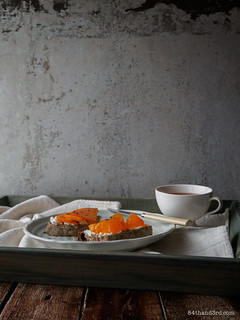 Persimmon, Goat Cheese & Thyme Tartine | by 84thand3rd