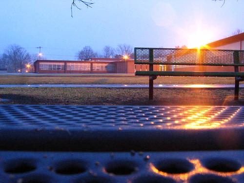 school sunset sunlight sunrise bench geotagged dawn dusk lensflare flare sunburst geo:lat=41600556 geo:lon=93608889
