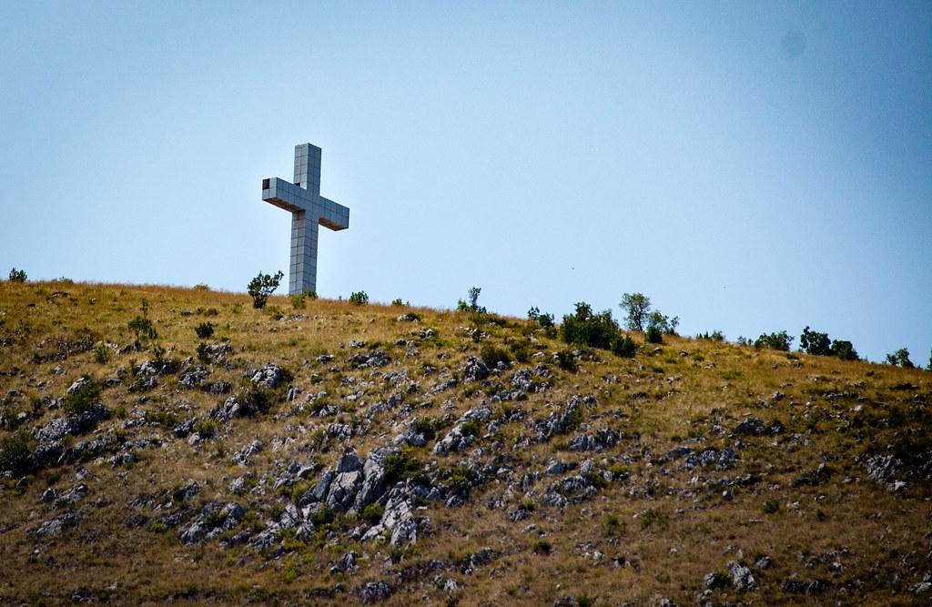 100-foot high cross on Hum Hill above Mostar