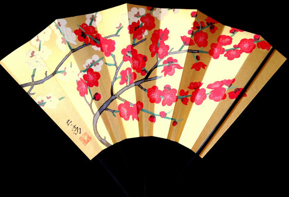 Hand Fan / Gold and Plum Blossoms