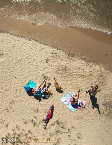 summer people dog lake beach outdoor michigan july lakemichigan kap straightdown aerialphotography kiteaerialphotography onekama 2014 chdk juannonly