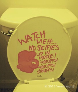 The toilets at Medulla Art Gallery during Richard Mark Rawlins' exhibition 'STEUPPS!'