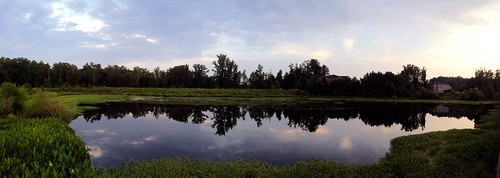 sunset reflection water nc pond durham northcarolina panoramic iphoneography iphone5s