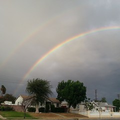 Gorgeous #doublerainbow yesterday! #rainbow #clouds #rain