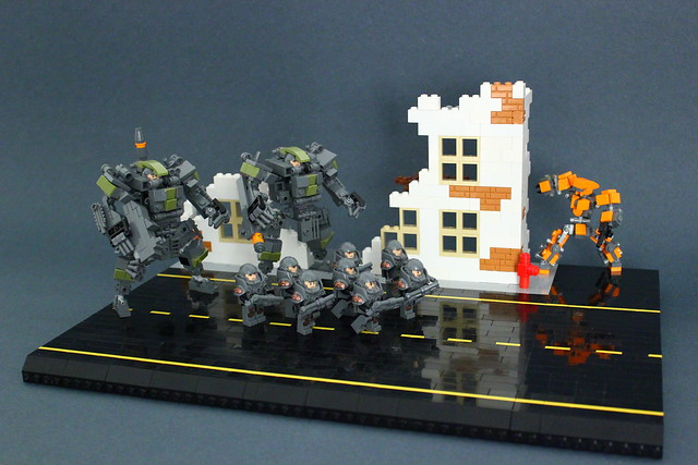 Military Mecha Suit X82 in a small diorama