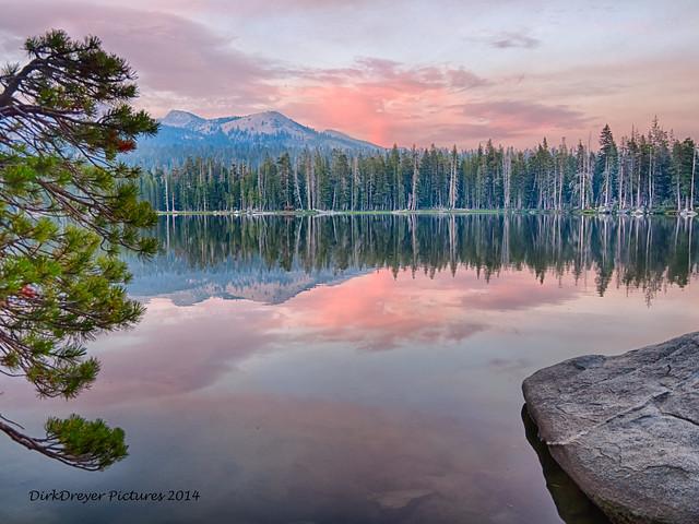 Sunset at Wrights Lake, California.