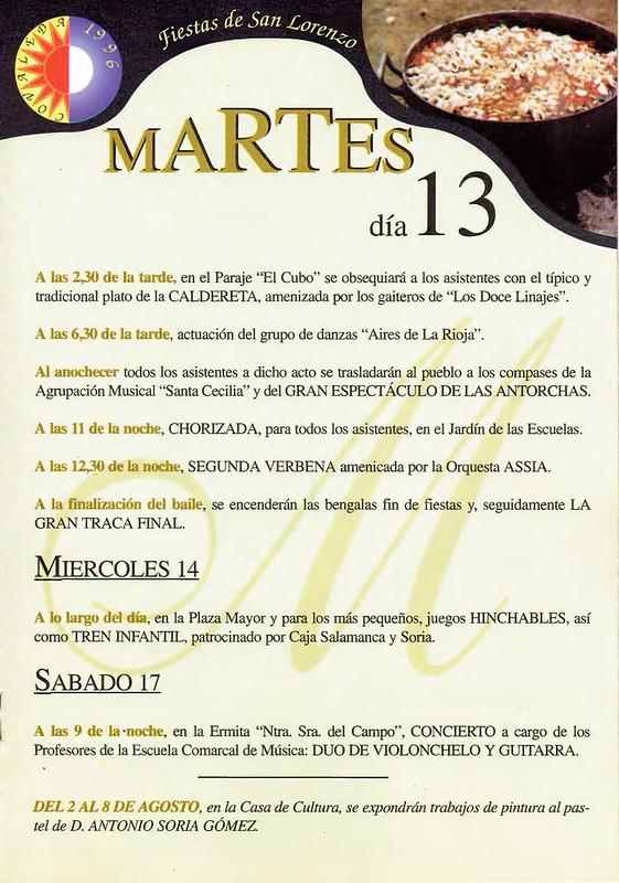 Programa Fiestas de San Lorenzo Año 1996