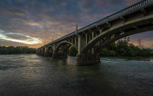street bridge sunset water river cloudy southcarolina columbia columbiasouthcarolina gervais congaree congareeriver gervaisstreetbridge