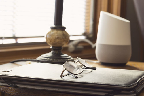 Google Home in a cozy reading nook. | by ndb_photos