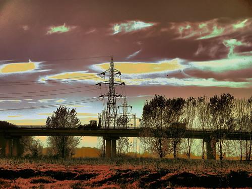 bridge sunset tree colors lines power braila