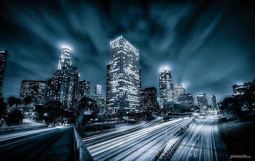 california blackandwhite skyline losangeles nikon skyscrapers unitedstates downtownla bluehour dtla d800 110fwy pixamundo