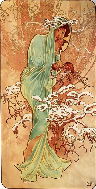 Les Quatre Saisons - Hiver (Winter) by Alfons Mucha (1896)