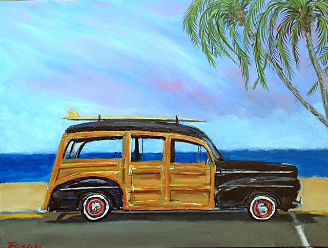 Surf Woody Original Art. www.paulpiasecki.com