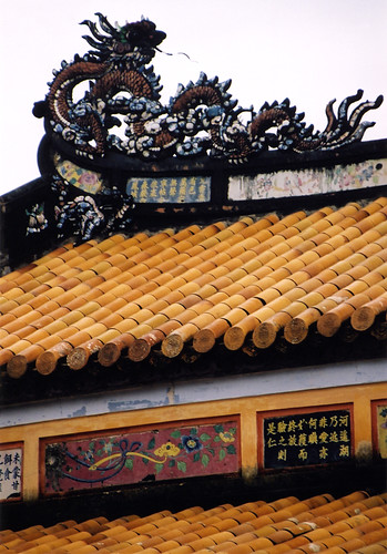 Yellow roof tiles on the Royal Palace in Hue, Vietnam