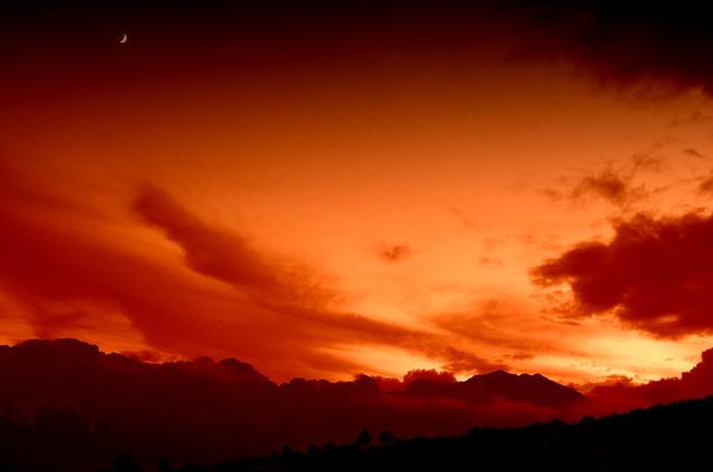 Sierra Bernia Moon Sunset