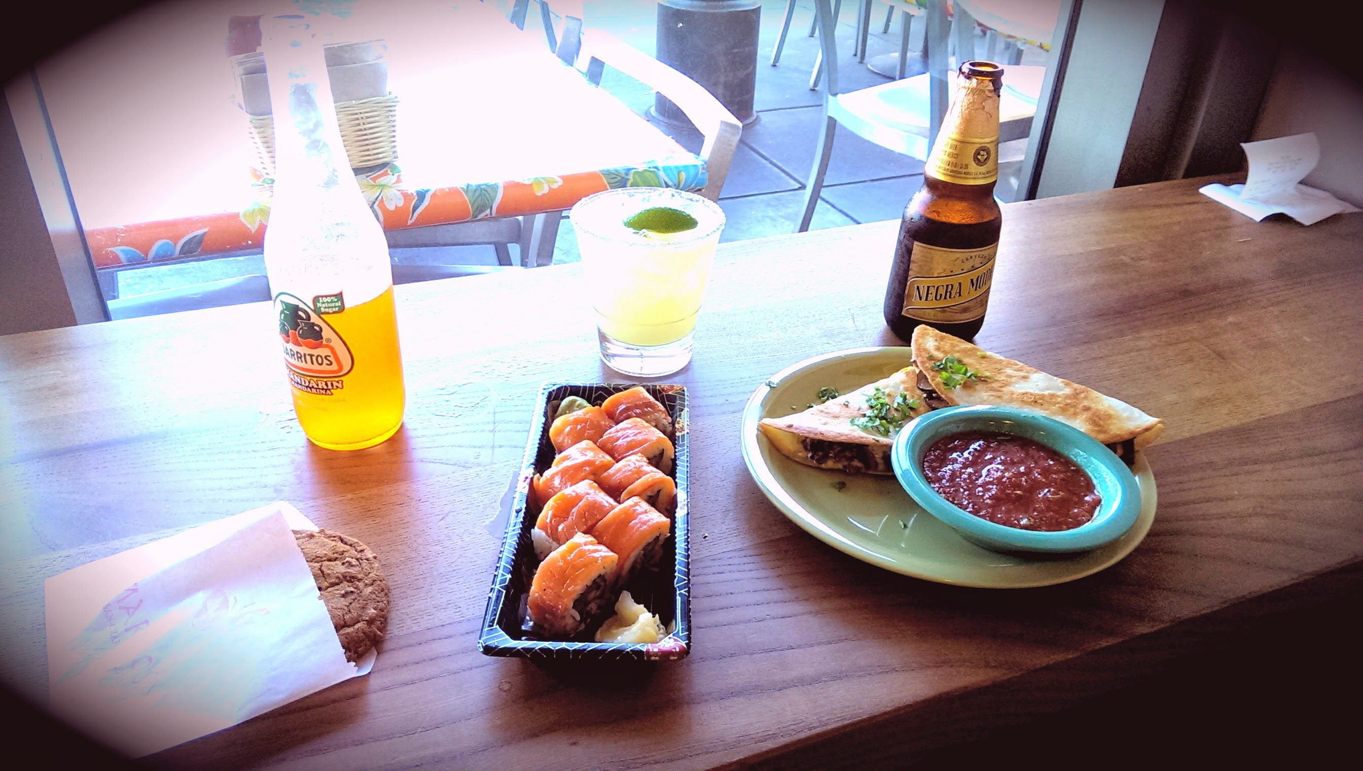 Fusion cuisine, that's a margarita with my sushi