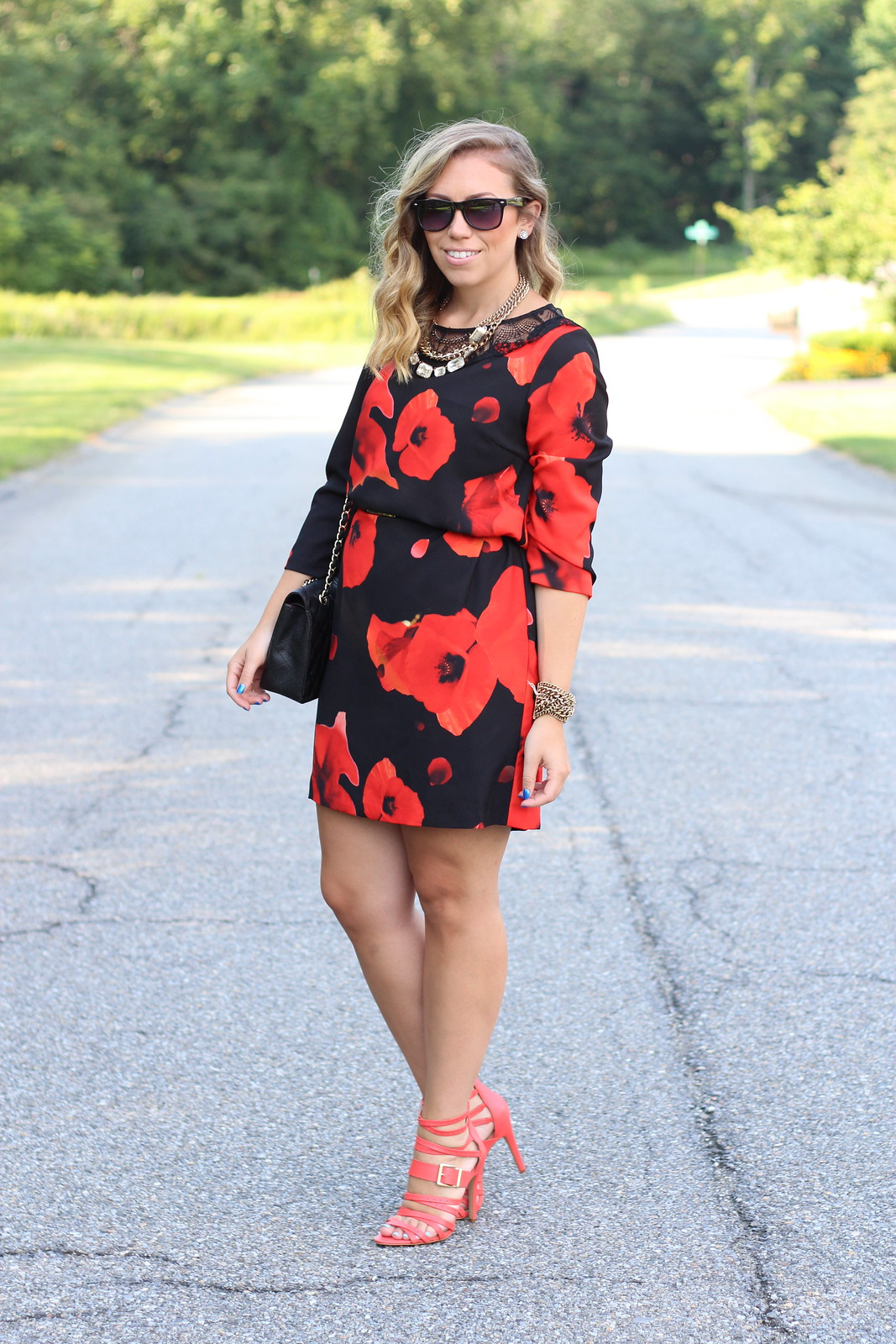 Dark Blooms Dress | Red Strappy Sandals | A Look Back at 10 Years of Blogging Living After Midnite Blogger Jackie Giardina